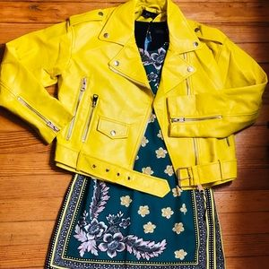 "Meringue ""Yellow"" Motorcycle Jacket By Zara"